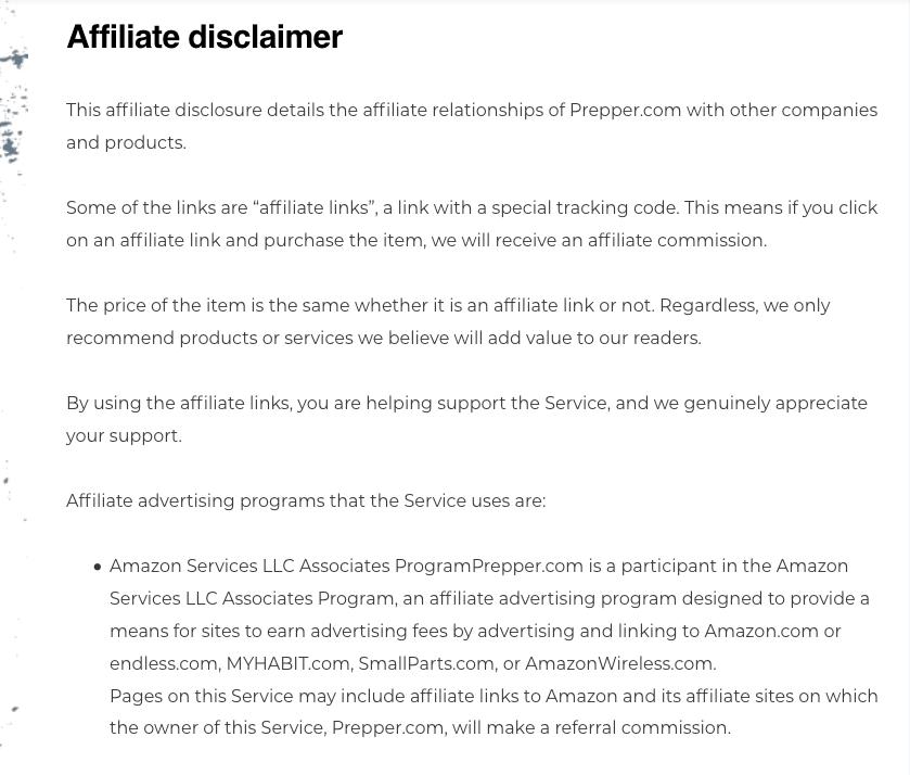 preppers.com affiliate disclaimer