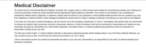 DanneMiller website medical disclaimer