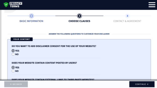 privacyterms.io disclaimer generator choose clauses