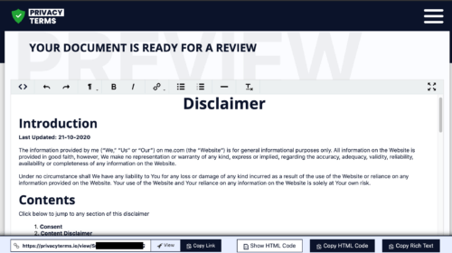 privacyterms.io disclaimer generator review screen