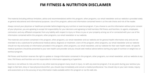 FM fitness & nutrition disclaimer