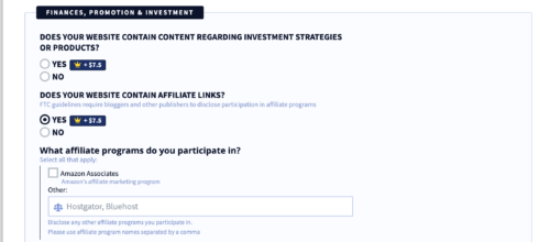 privacyterms.io disclaimer generator finances, promotion and investment section