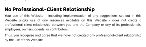 K5 counselors website disclaimer