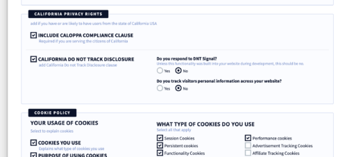 privacyterms.io privacy policy generator CalOPPA and Cookie Policy section
