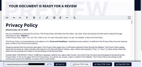 privacyterms.io privacy policy generator review page