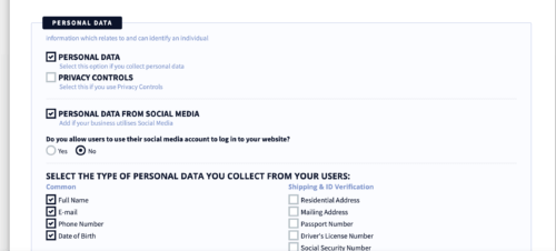 privacyterms.io privacy policy generator personal data section