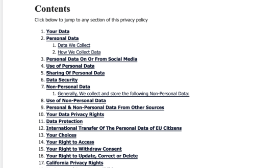 privacyterms.io privacy policy generator contents example