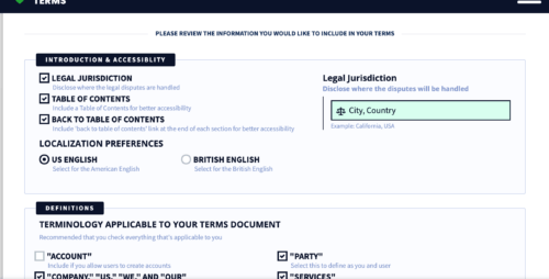 privacyterms.io terms and conditions generator intro screenshot