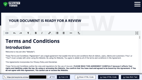 privacyterms.io terms and conditions generator review page