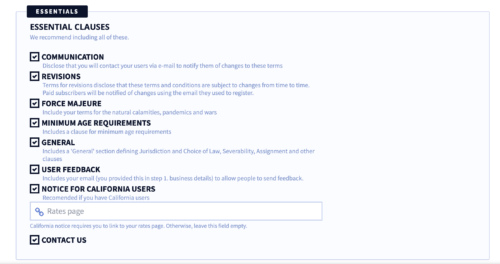 privacyterms.io terms and conditions generator the essentials section