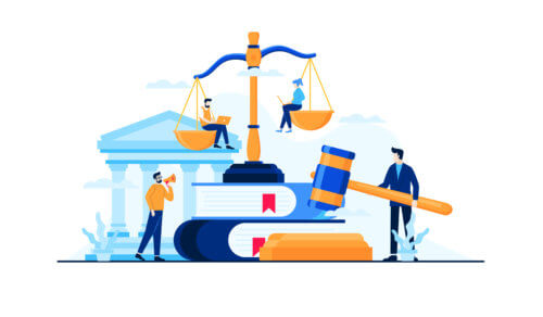 gavel, scales and lawyers