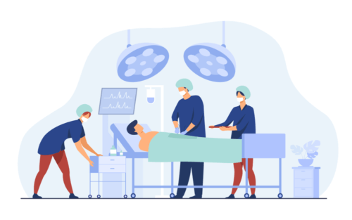 surgeons and patient in operating theater