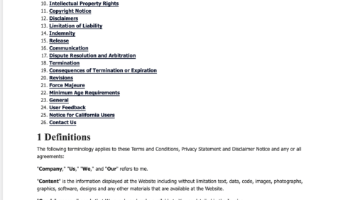 privacyterms.io terms and conditions generator example of contents section